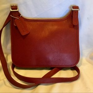 Coach red leather flap crossbody bag 9132